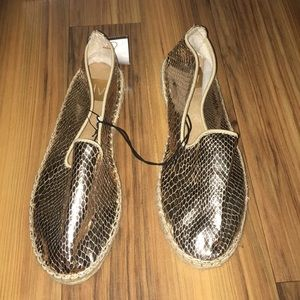 gold metallic slip on shoes